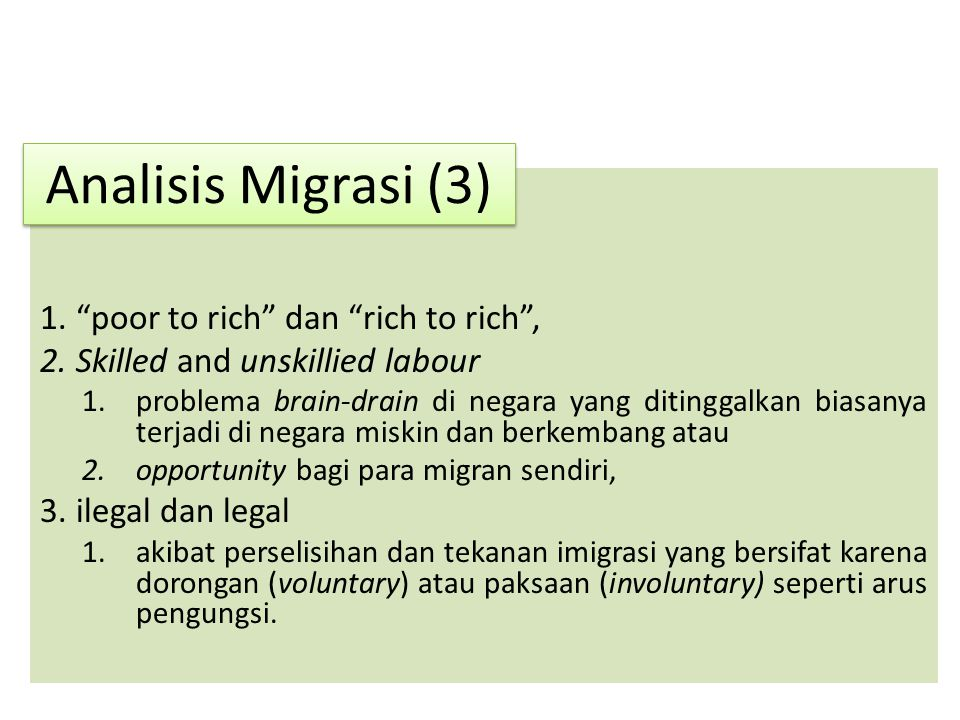 Analisis Migrasi (3) poor to rich dan rich to rich ,