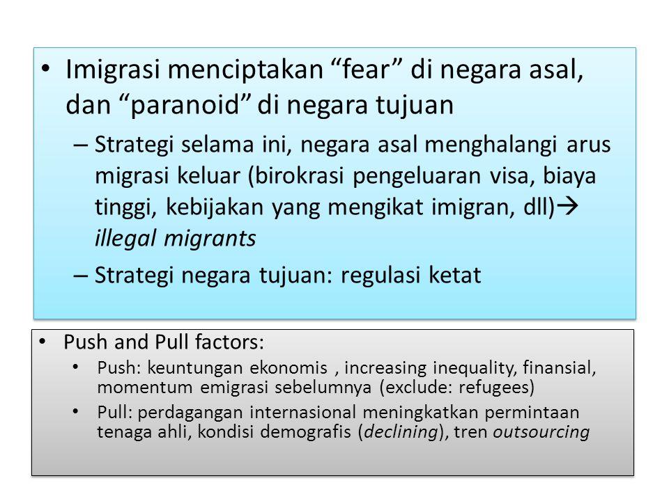 Imigrasi menciptakan fear di negara asal, dan paranoid di negara tujuan