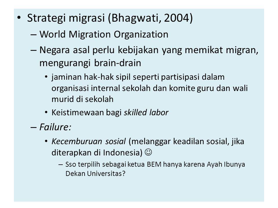Strategi migrasi (Bhagwati, 2004)