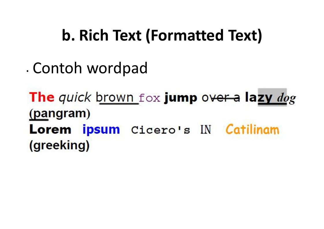 b. Rich Text (Formatted Text)