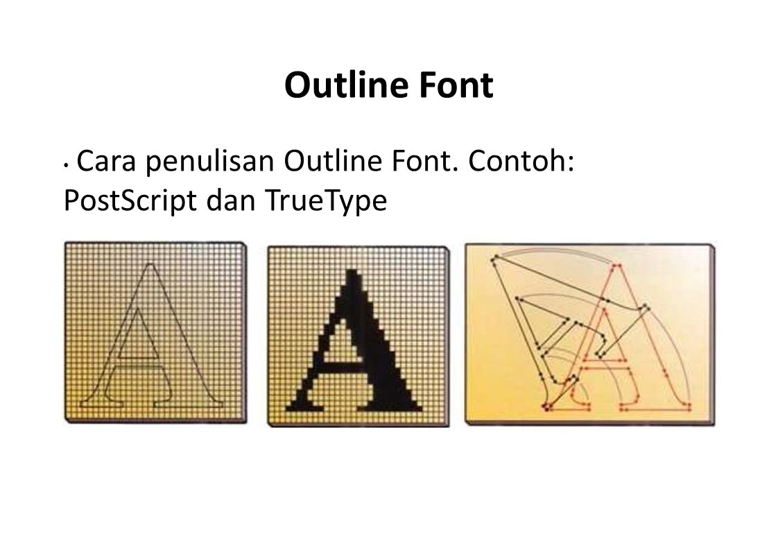 Outline Font • Cara penulisan Outline Font. Contoh: PostScript dan TrueType