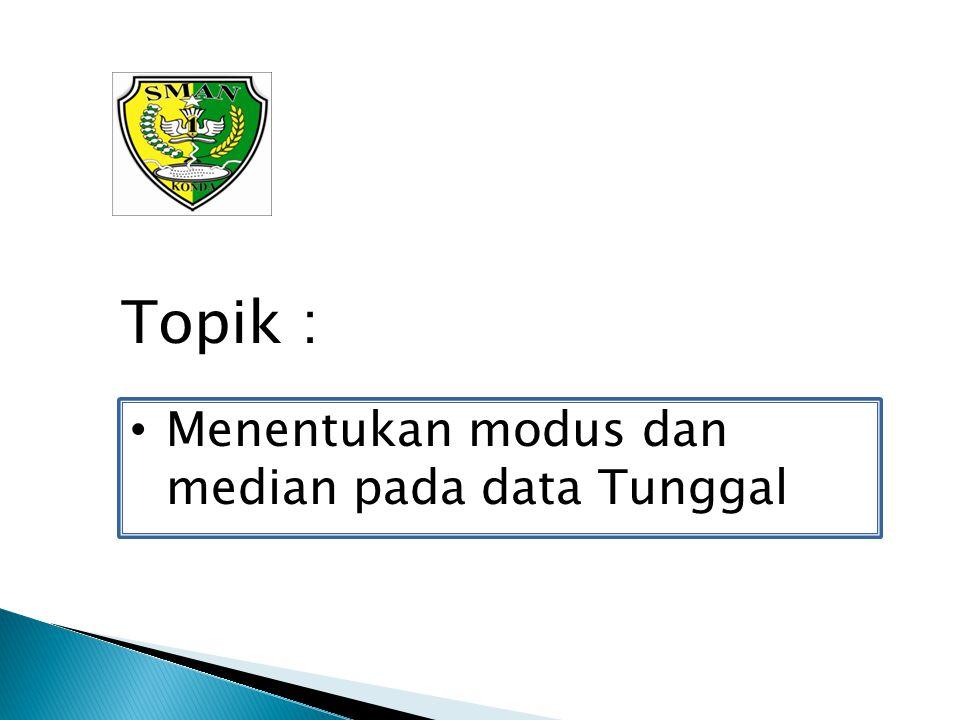 Topik : Menentukan modus dan median pada data Tunggal