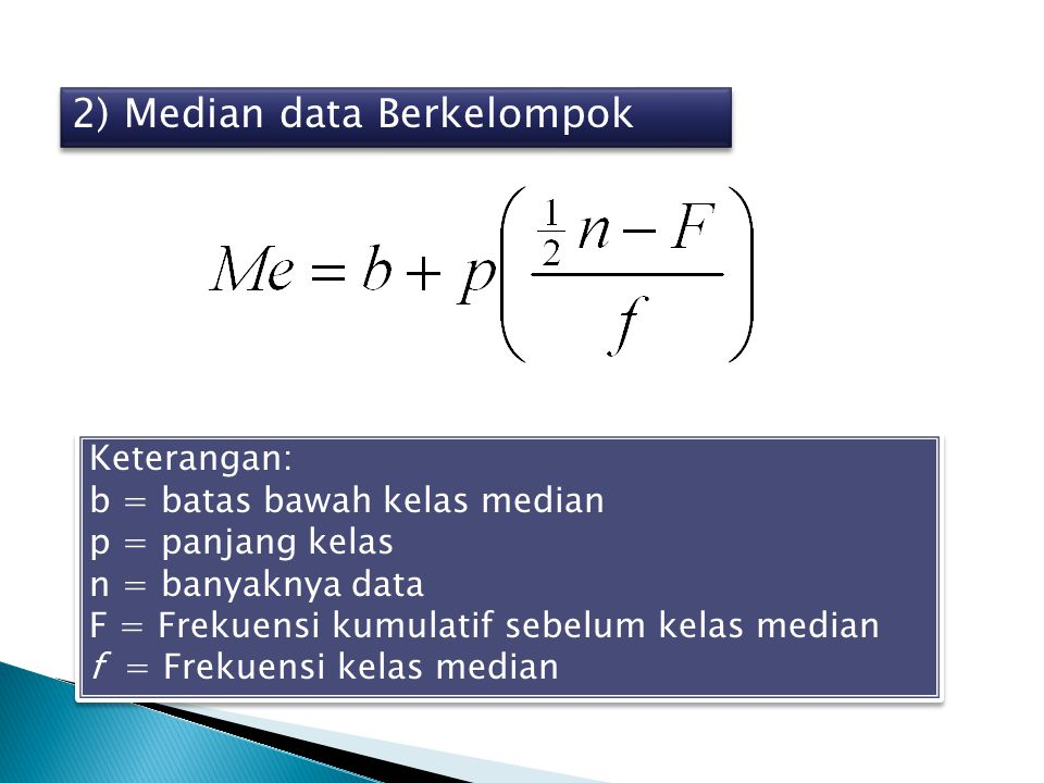 2) Median data Berkelompok