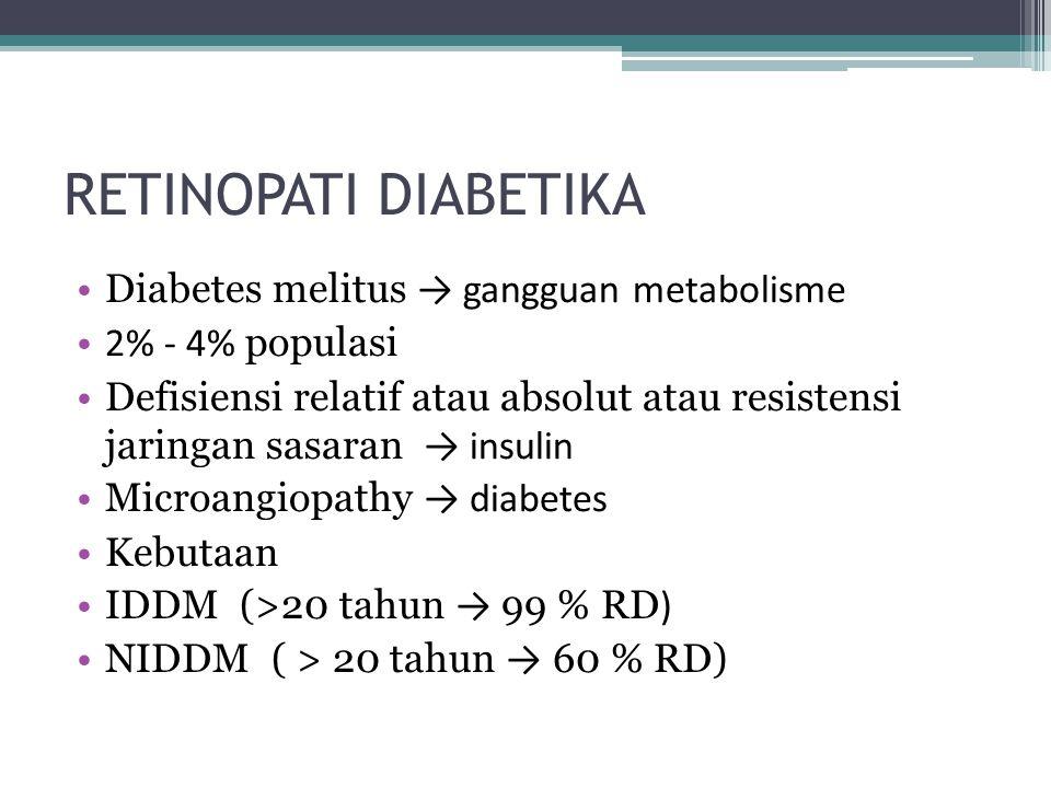RETINOPATI DIABETIKA Diabetes melitus → gangguan metabolisme