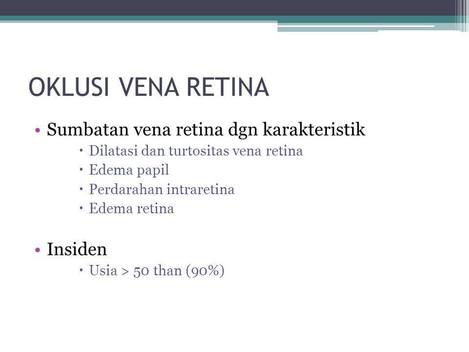 OKLUSI VENA RETINA Sumbatan vena retina dgn karakteristik Insiden