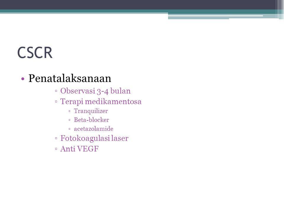 CSCR Penatalaksanaan Observasi 3-4 bulan Terapi medikamentosa