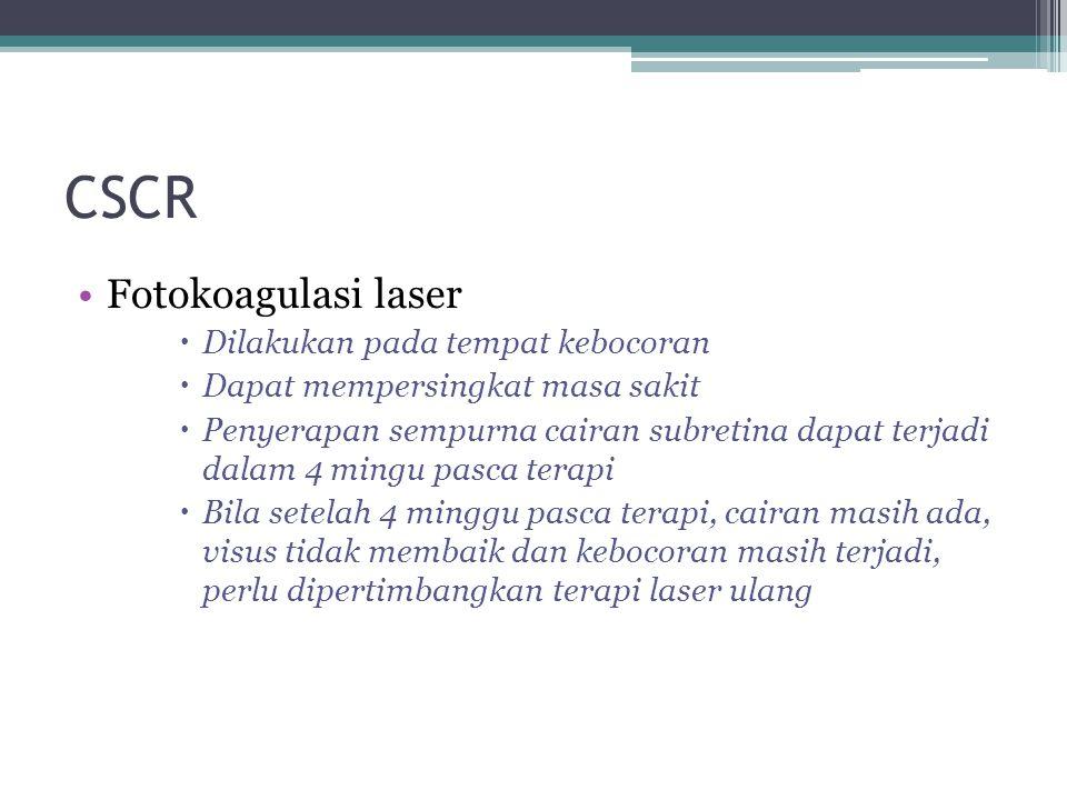 CSCR Fotokoagulasi laser Dilakukan pada tempat kebocoran