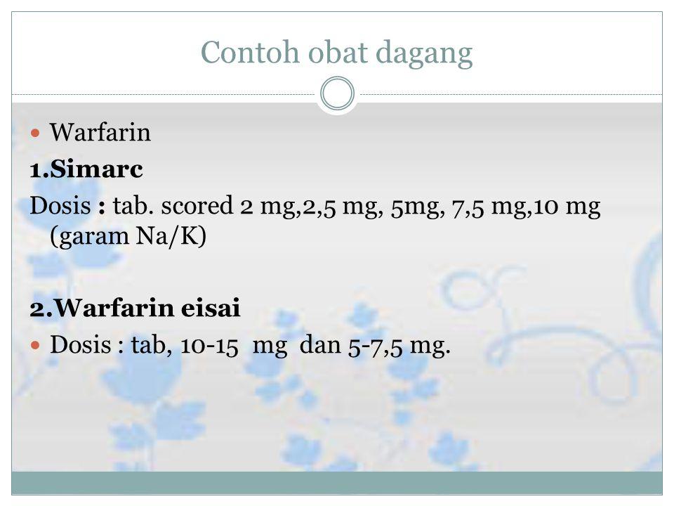 Contoh obat dagang Warfarin 1.Simarc