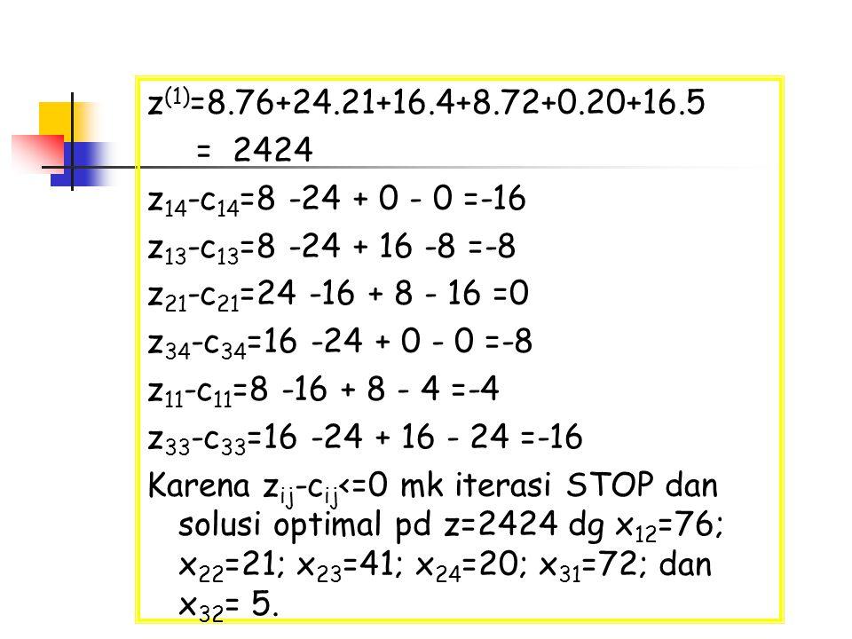 z(1)=8.76+24.21+16.4+8.72+0.20+16.5 = 2424. z14-c14=8 -24 + 0 - 0 =-16. z13-c13=8 -24 + 16 -8 =-8.