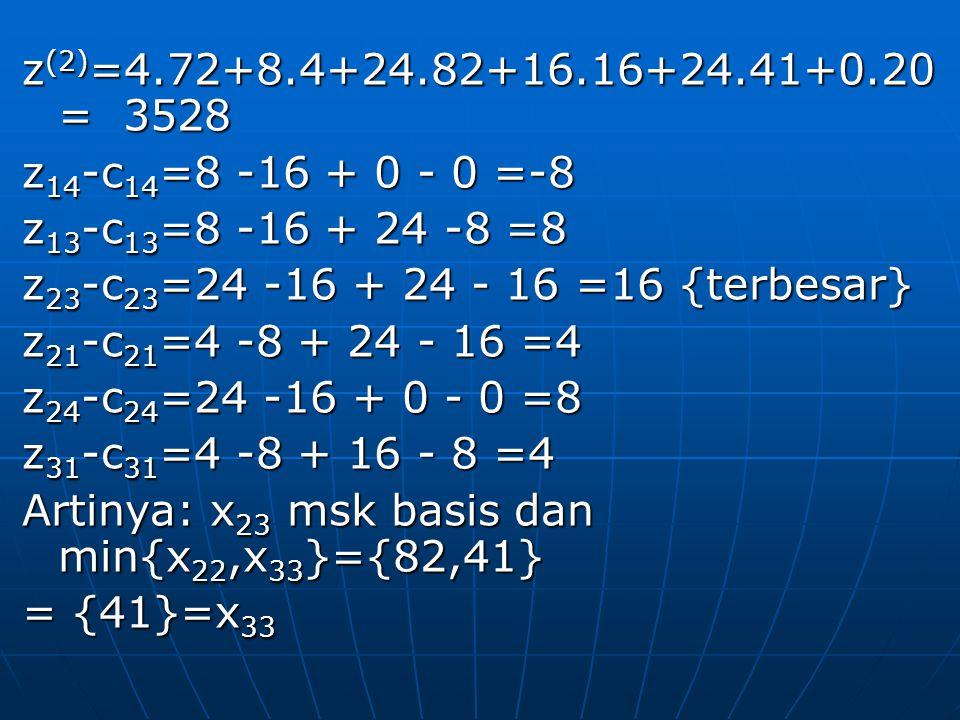 z(2)=4.72+8.4+24.82+16.16+24.41+0.20 = 3528 z14-c14=8 -16 + 0 - 0 =-8. z13-c13=8 -16 + 24 -8 =8.