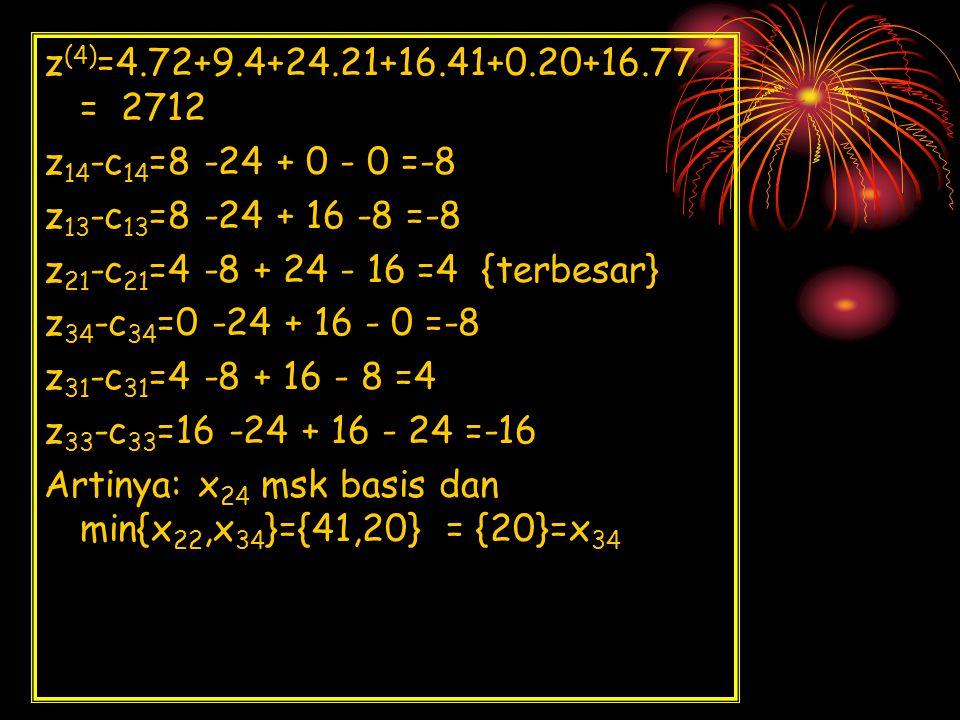 z(4)=4.72+9.4+24.21+16.41+0.20+16.77 = 2712 z14-c14=8 -24 + 0 - 0 =-8. z13-c13=8 -24 + 16 -8 =-8.
