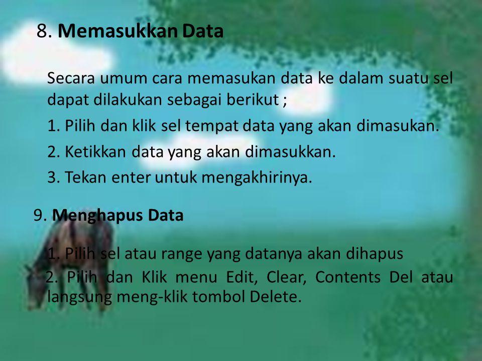 8. Memasukkan Data 9. Menghapus Data