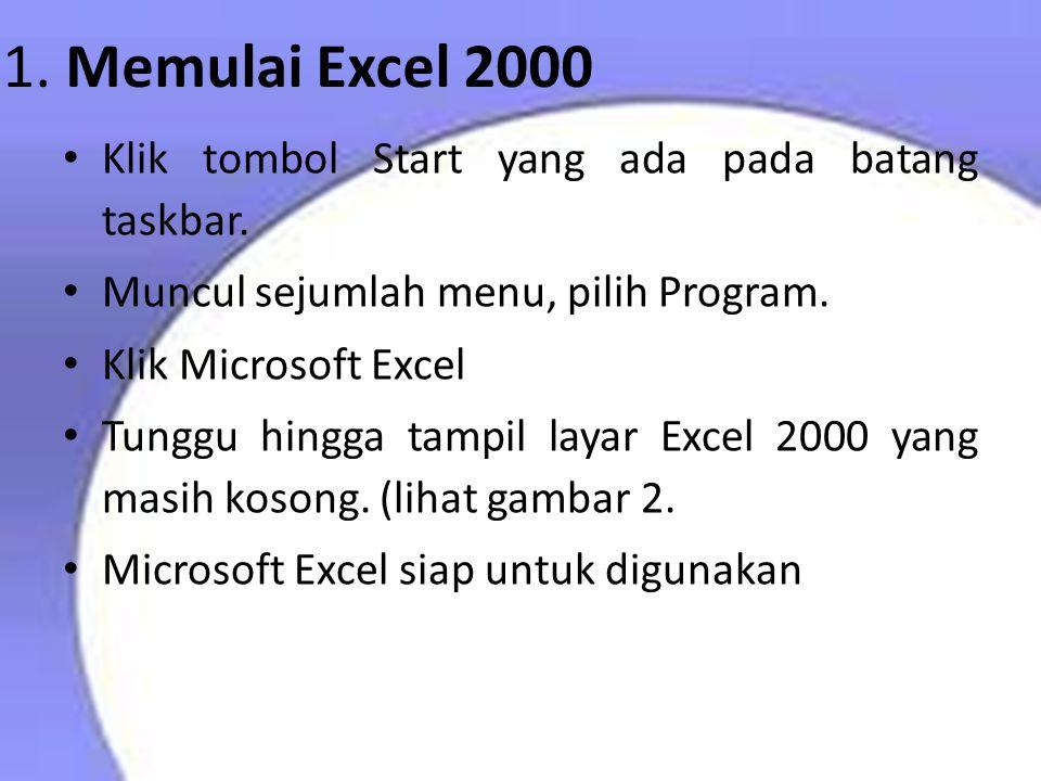 1. Memulai Excel 2000 Klik tombol Start yang ada pada batang taskbar.