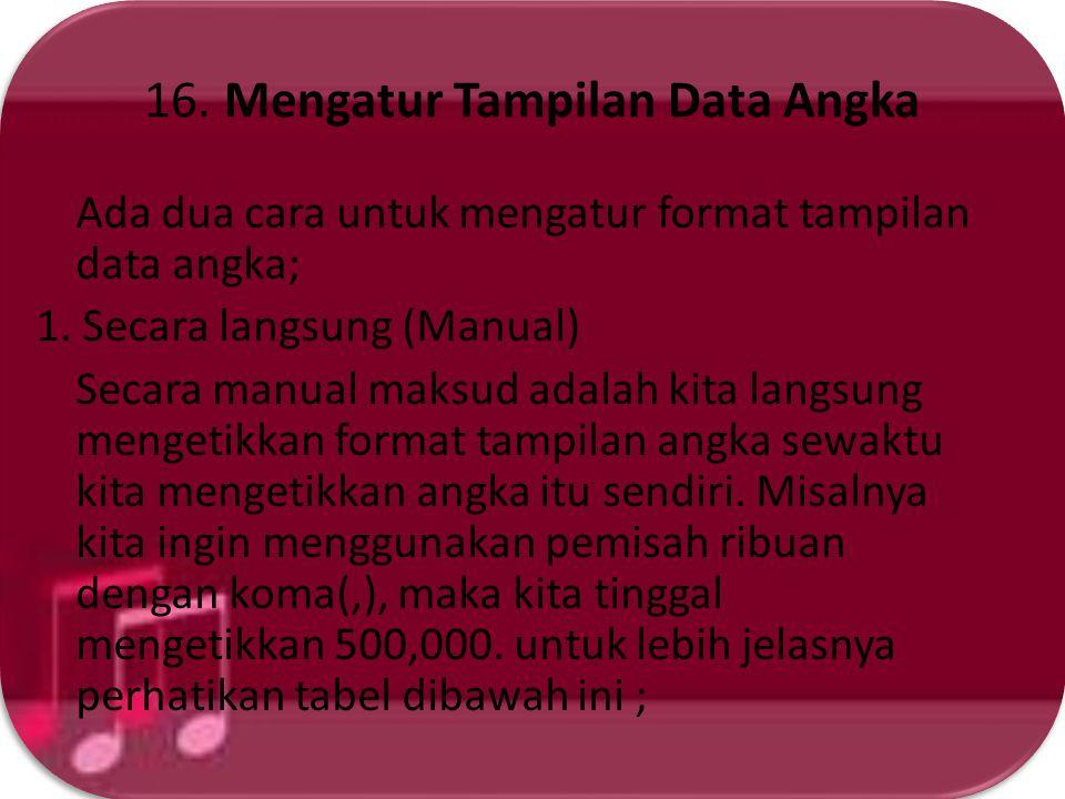 16. Mengatur Tampilan Data Angka