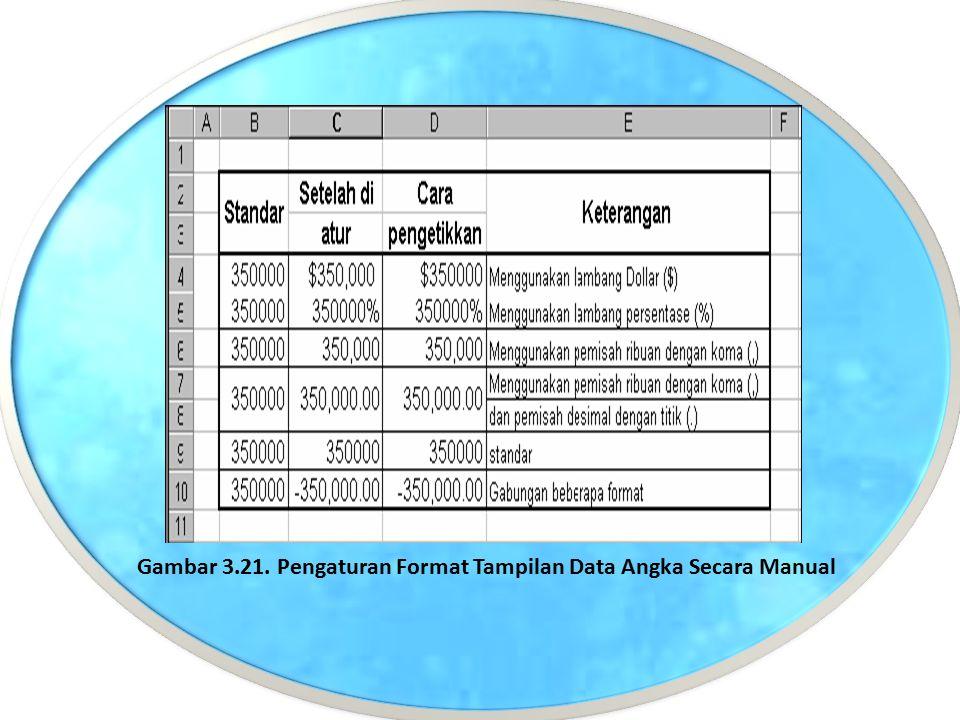 Gambar 3.21. Pengaturan Format Tampilan Data Angka Secara Manual