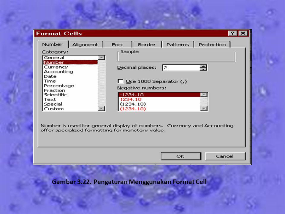 Gambar 3.22. Pengaturan Menggunakan Format Cell