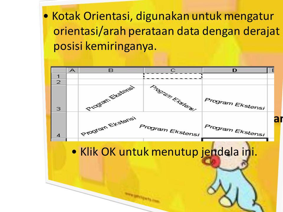 • Kotak Orientasi, digunakan untuk mengatur orientasi/arah perataan data dengan derajat posisi kemiringanya.