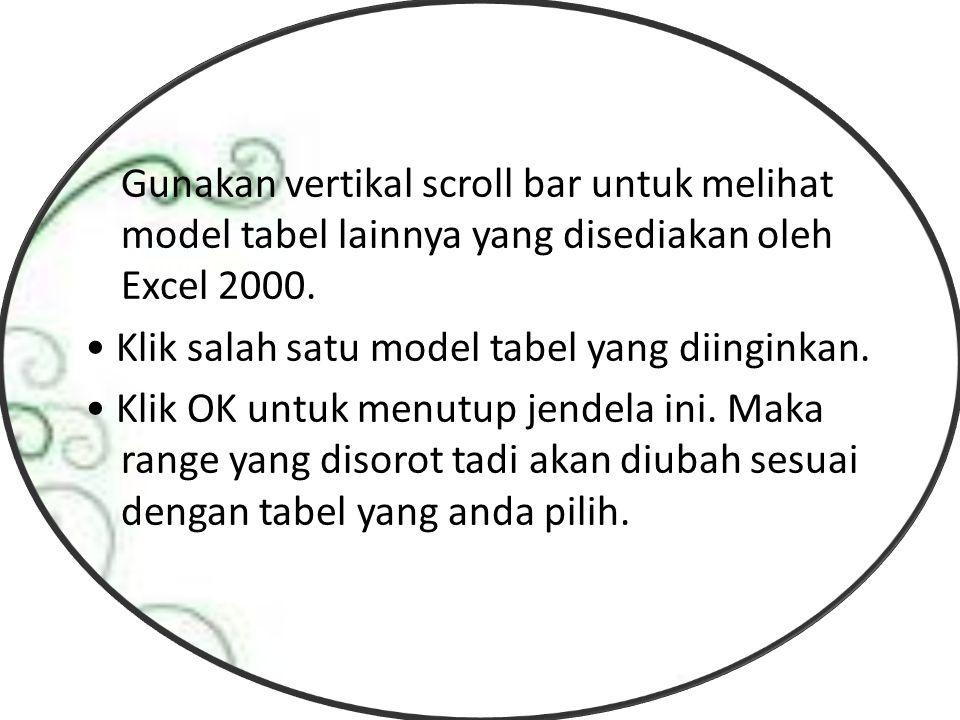 Gunakan vertikal scroll bar untuk melihat model tabel lainnya yang disediakan oleh Excel 2000.