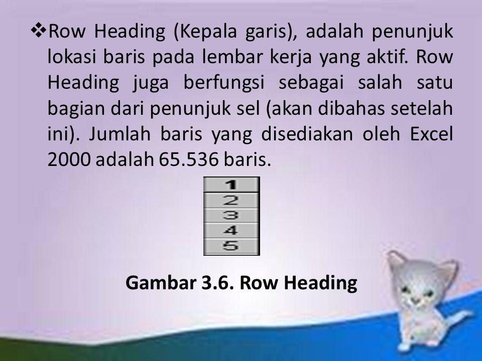Row Heading (Kepala garis), adalah penunjuk lokasi baris pada lembar kerja yang aktif. Row Heading juga berfungsi sebagai salah satu bagian dari penunjuk sel (akan dibahas setelah ini). Jumlah baris yang disediakan oleh Excel 2000 adalah 65.536 baris.