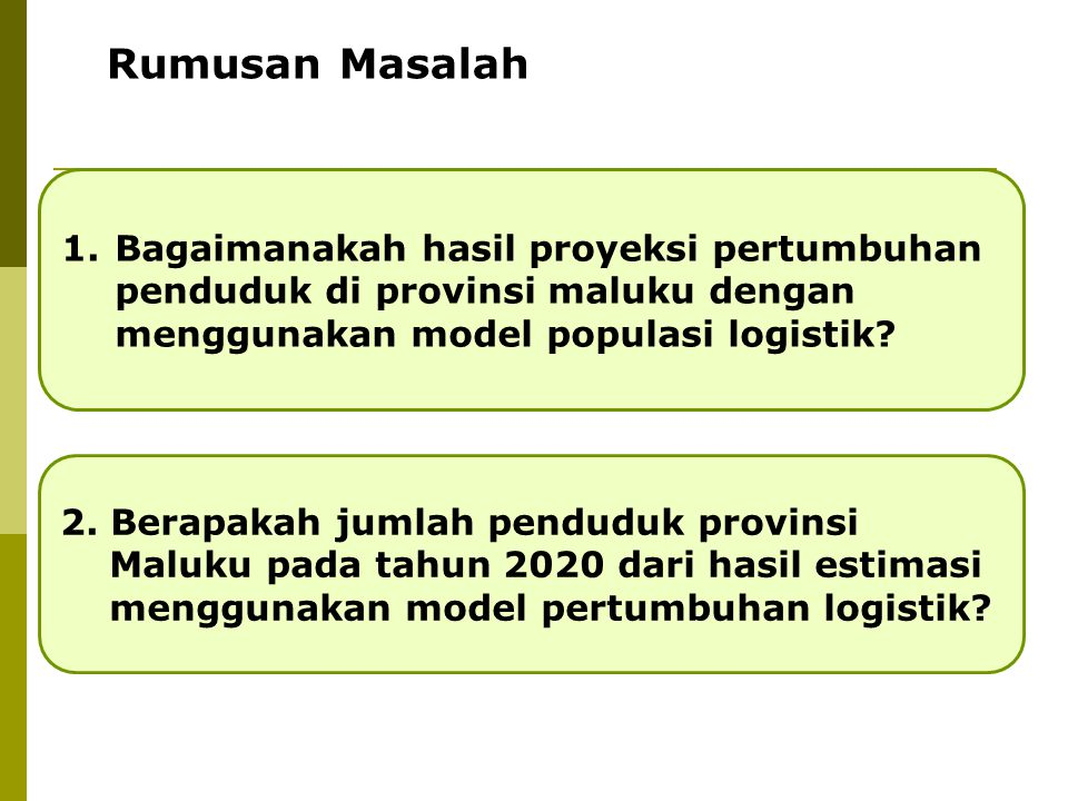 Rumusan Masalah Bagaimanakah hasil proyeksi pertumbuhan penduduk di provinsi maluku dengan menggunakan model populasi logistik