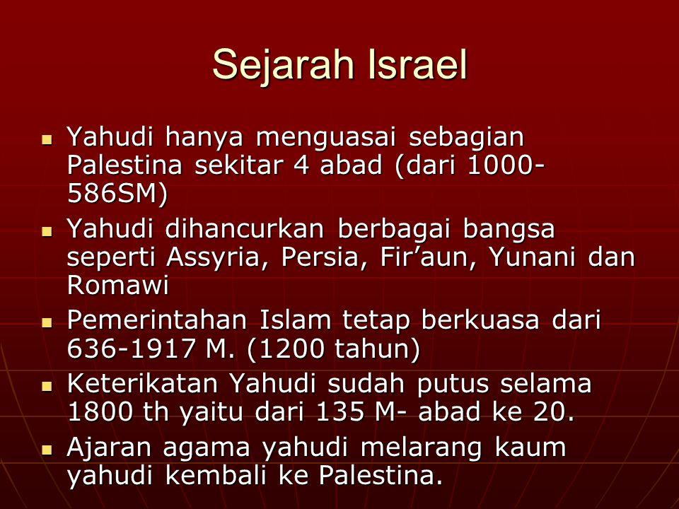 Sejarah Israel Yahudi hanya menguasai sebagian Palestina sekitar 4 abad (dari 1000-586SM)
