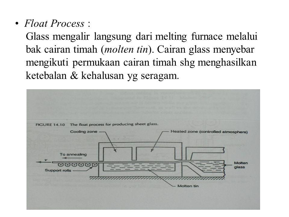 Float Process : Glass mengalir langsung dari melting furnace melalui bak cairan timah (molten tin).