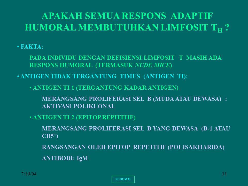APAKAH SEMUA RESPONS ADAPTIF HUMORAL MEMBUTUHKAN LIMFOSIT TH