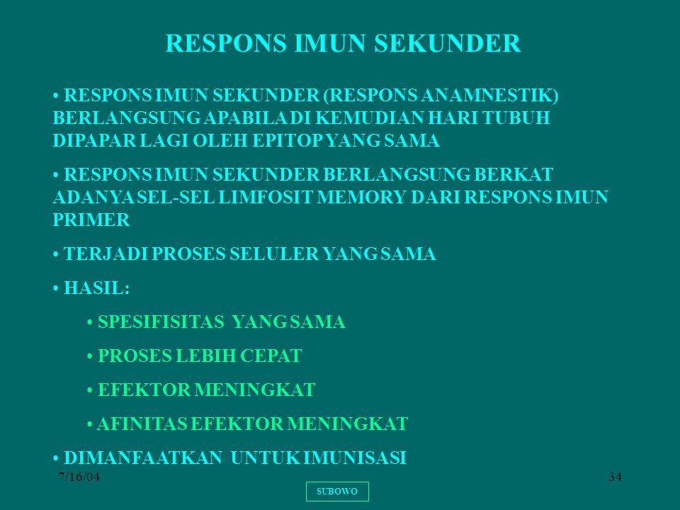 RESPONS IMUN SEKUNDER RESPONS IMUN SEKUNDER (RESPONS ANAMNESTIK) BERLANGSUNG APABILA DI KEMUDIAN HARI TUBUH DIPAPAR LAGI OLEH EPITOP YANG SAMA.