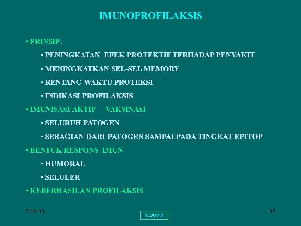 IMUNOPROFILAKSIS PRINSIP: PENINGKATAN EFEK PROTEKTIF TERHADAP PENYAKIT