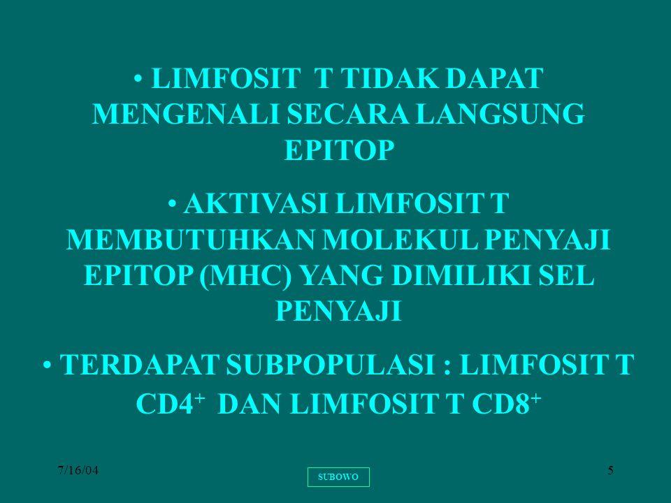 LIMFOSIT T TIDAK DAPAT MENGENALI SECARA LANGSUNG EPITOP