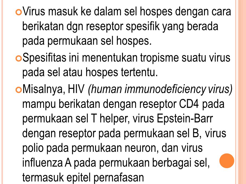 Virus masuk ke dalam sel hospes dengan cara berikatan dgn reseptor spesifik yang berada pada permukaan sel hospes.