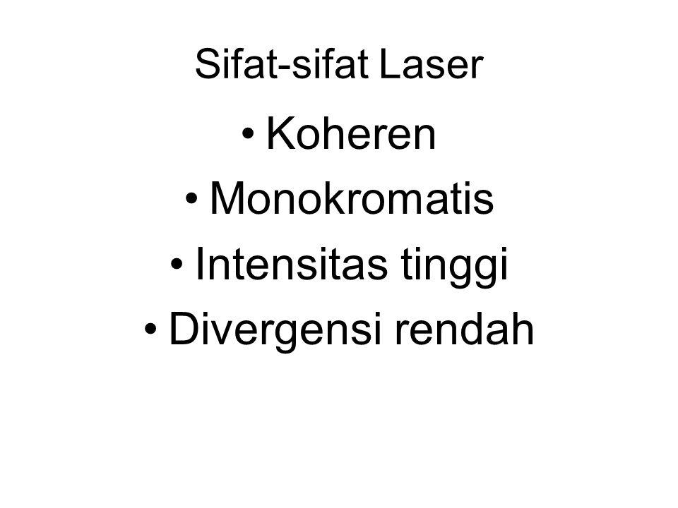 Koheren Monokromatis Intensitas tinggi Divergensi rendah