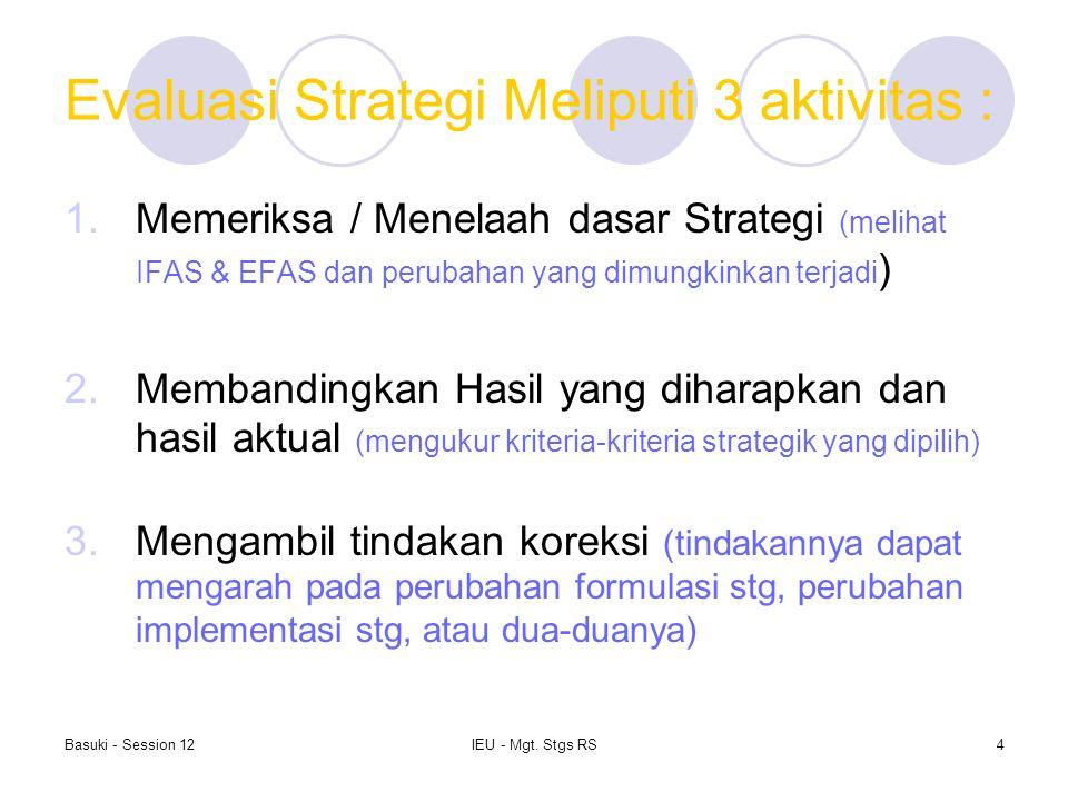 Evaluasi Strategi Meliputi 3 aktivitas :
