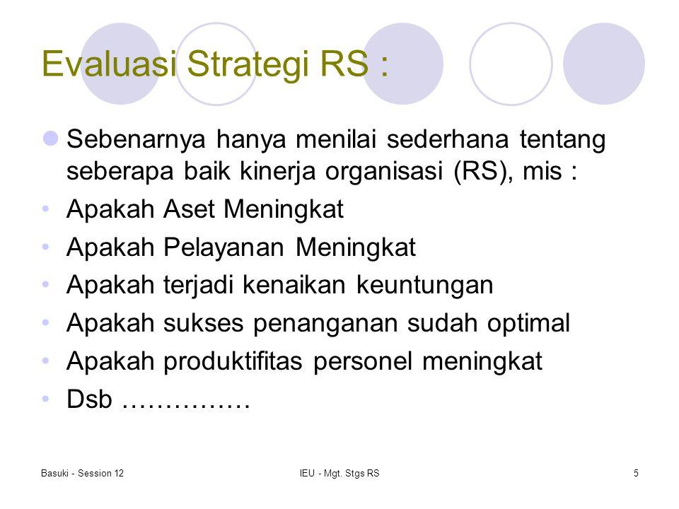 Evaluasi Strategi RS : Sebenarnya hanya menilai sederhana tentang seberapa baik kinerja organisasi (RS), mis :