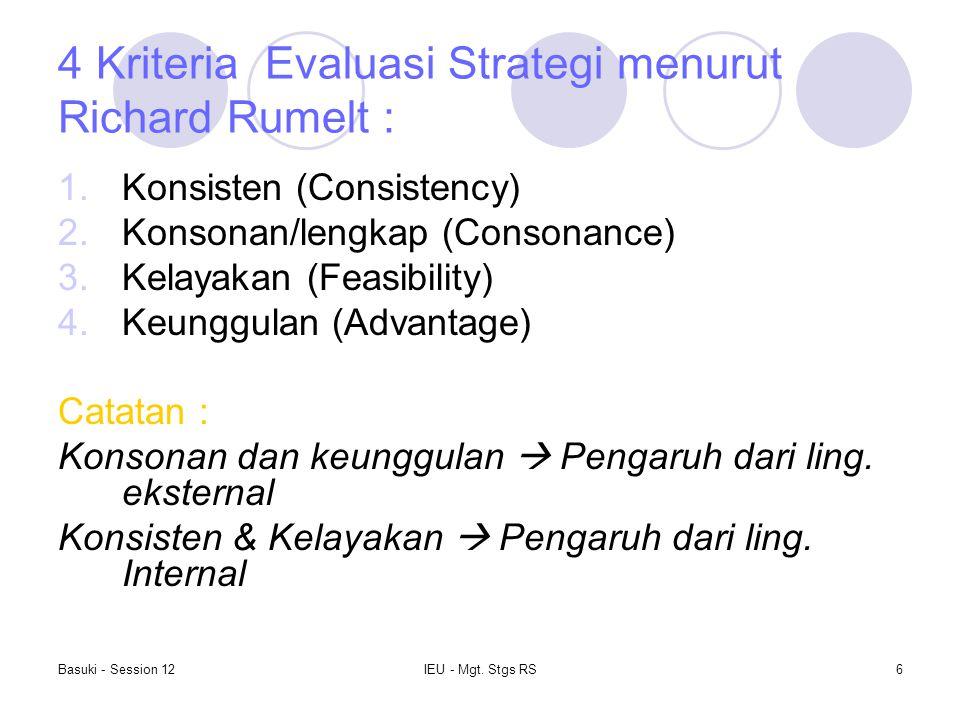 4 Kriteria Evaluasi Strategi menurut Richard Rumelt :