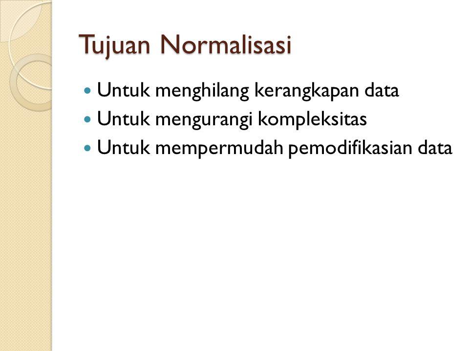 Tujuan Normalisasi Untuk menghilang kerangkapan data
