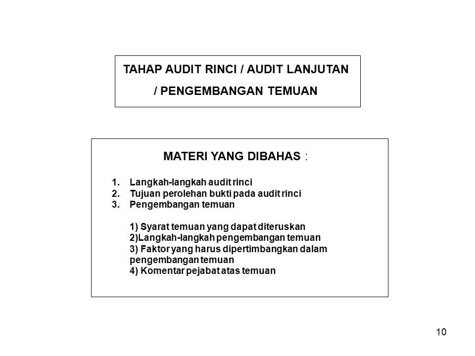 TAHAP AUDIT RINCI / AUDIT LANJUTAN