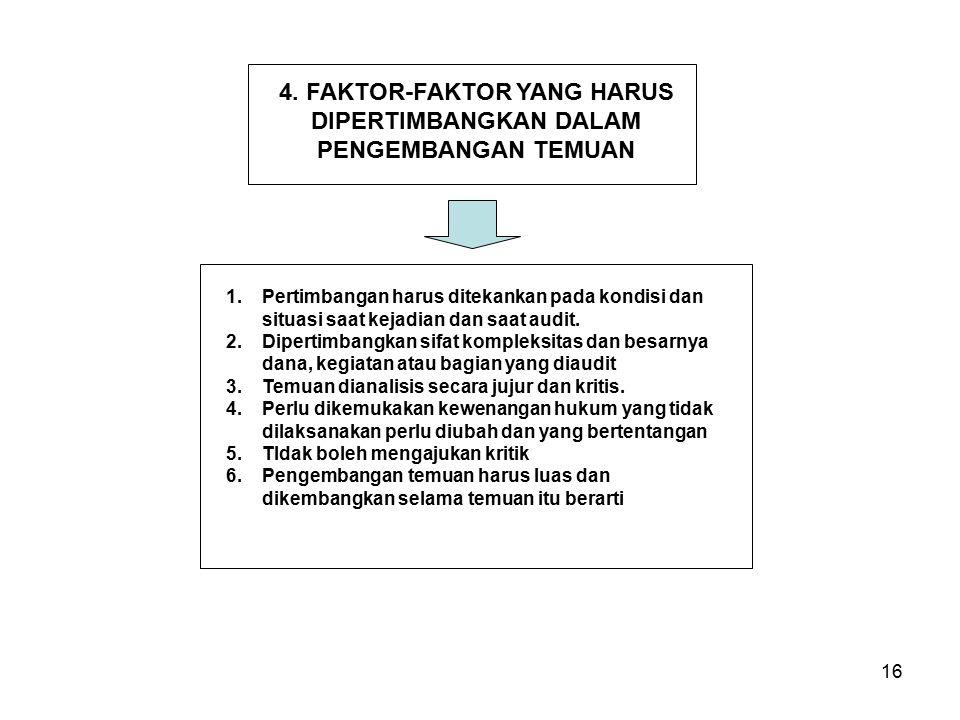 4. FAKTOR-FAKTOR YANG HARUS DIPERTIMBANGKAN DALAM PENGEMBANGAN TEMUAN