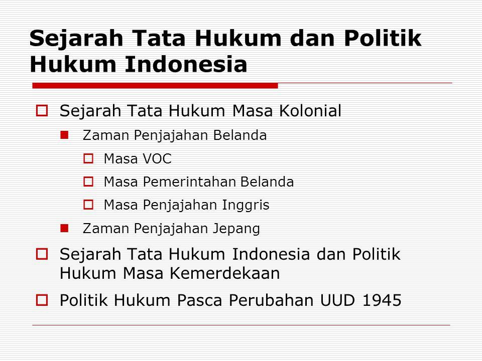 Sejarah Tata Hukum dan Politik Hukum Indonesia
