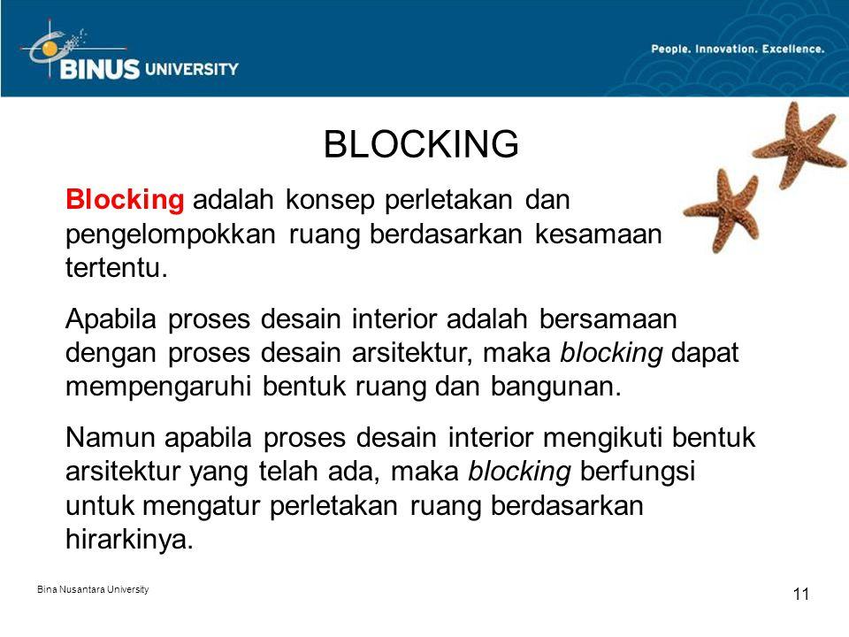 BLOCKING Blocking adalah konsep perletakan dan pengelompokkan ruang berdasarkan kesamaan tertentu.