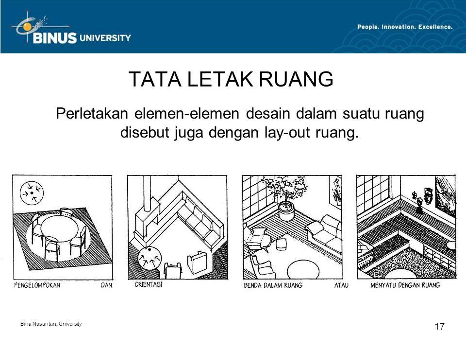 TATA LETAK RUANG Perletakan elemen-elemen desain dalam suatu ruang disebut juga dengan lay-out ruang.