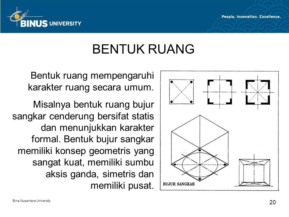 BENTUK RUANG Bentuk ruang mempengaruhi karakter ruang secara umum.