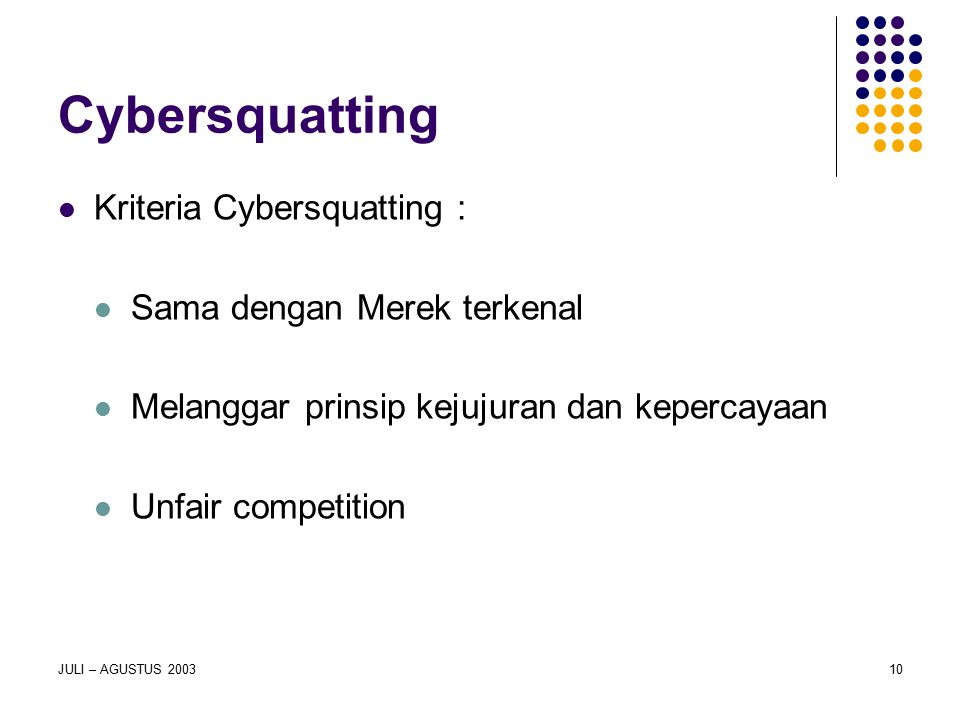 Cybersquatting Kriteria Cybersquatting : Sama dengan Merek terkenal