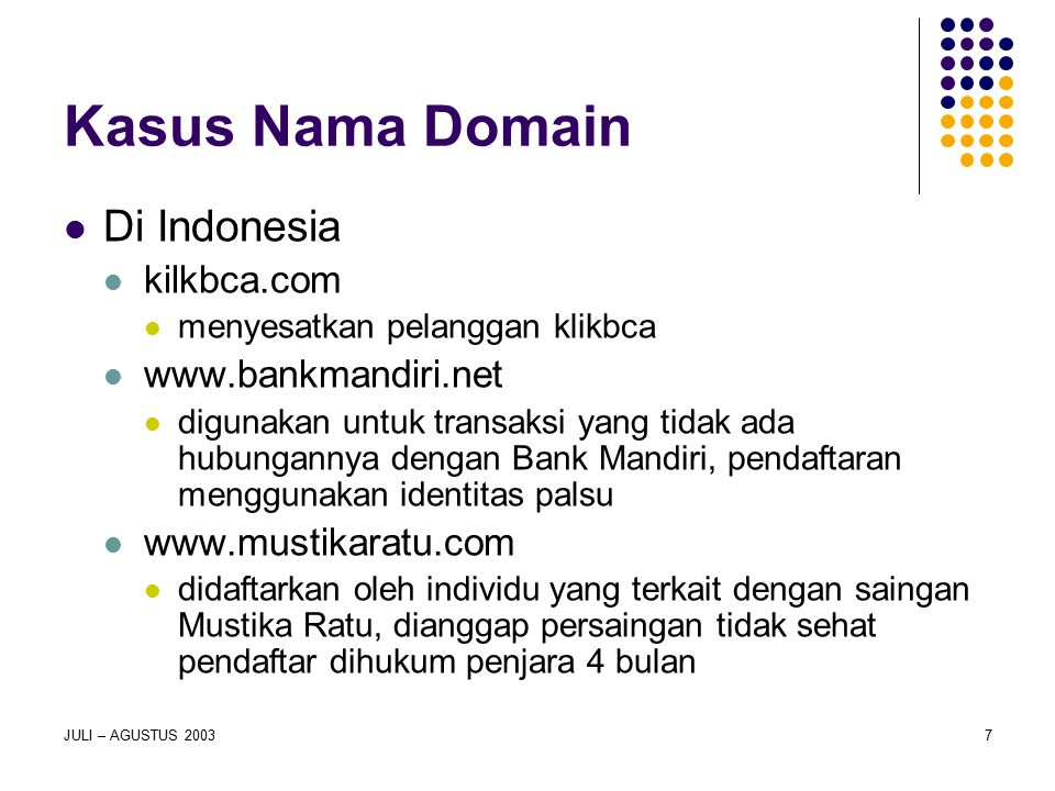 Kasus Nama Domain Di Indonesia kilkbca.com www.bankmandiri.net