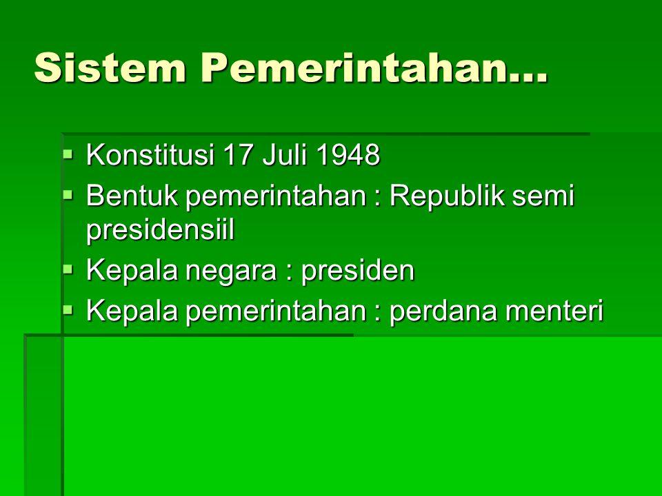 Sistem Pemerintahan... Konstitusi 17 Juli 1948