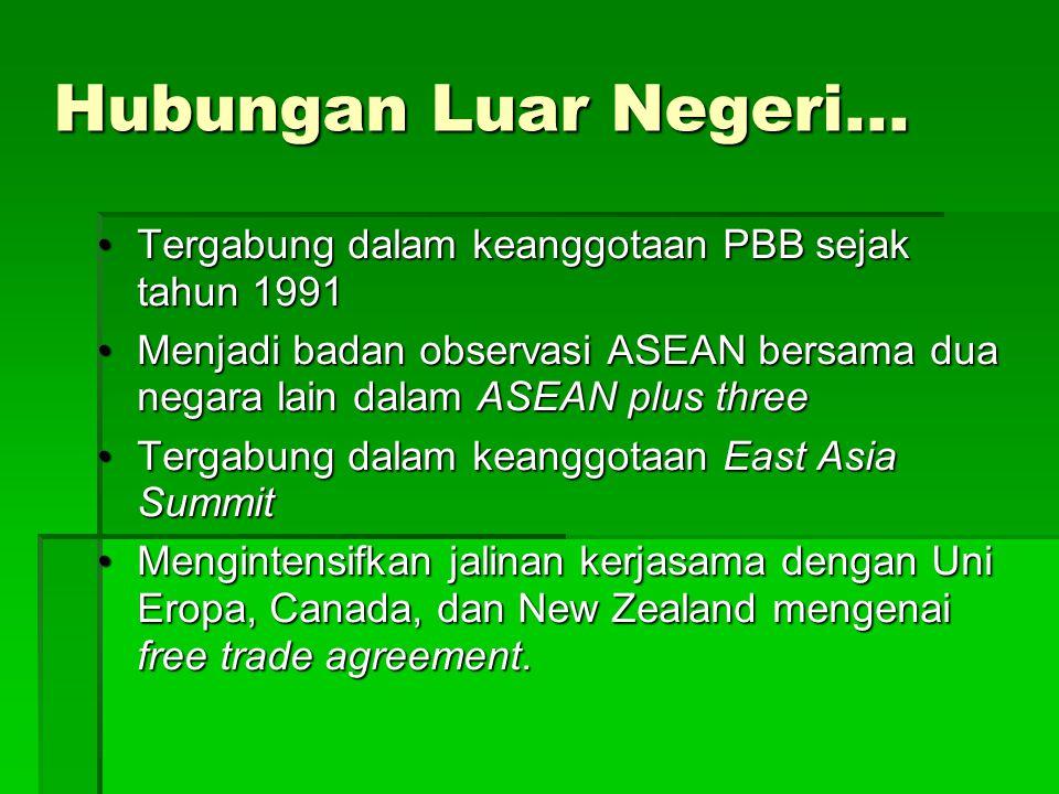 Hubungan Luar Negeri... Tergabung dalam keanggotaan PBB sejak tahun 1991.