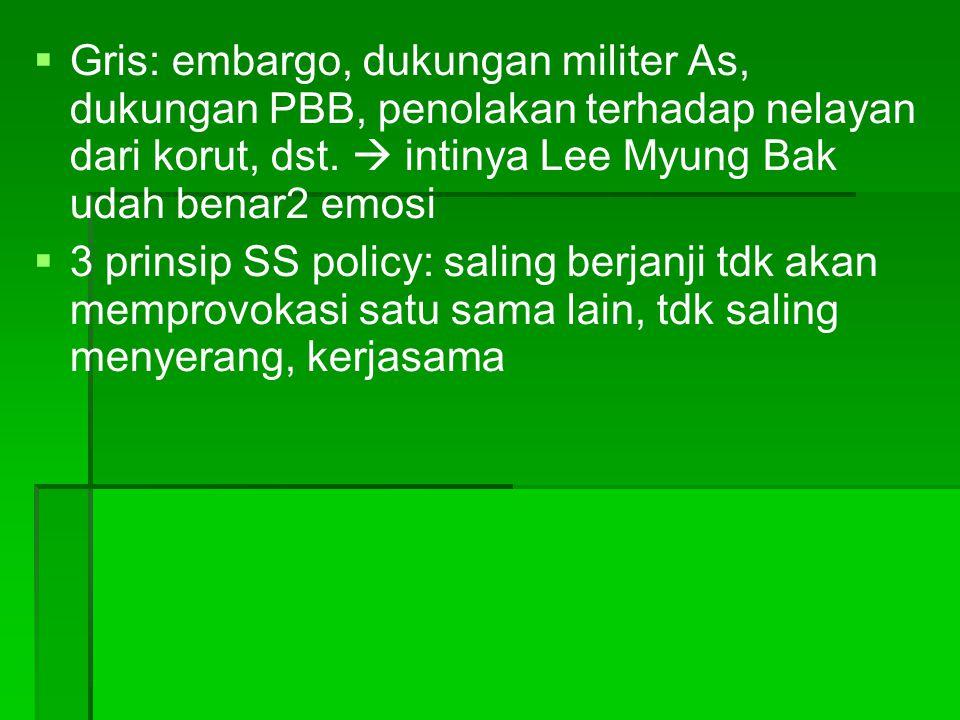 Gris: embargo, dukungan militer As, dukungan PBB, penolakan terhadap nelayan dari korut, dst.  intinya Lee Myung Bak udah benar2 emosi