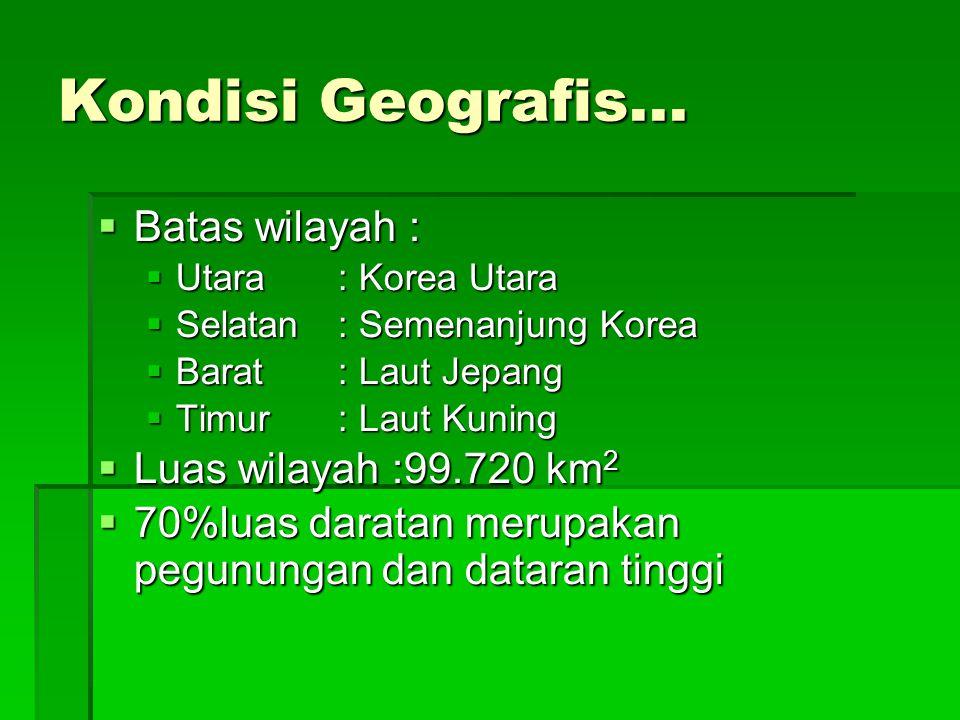 Kondisi Geografis... Batas wilayah : Luas wilayah :99.720 km2