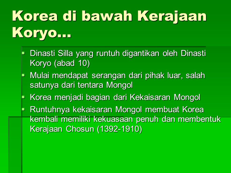 Korea di bawah Kerajaan Koryo...