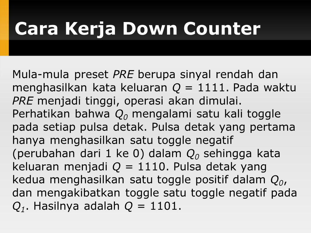 Cara Kerja Down Counter